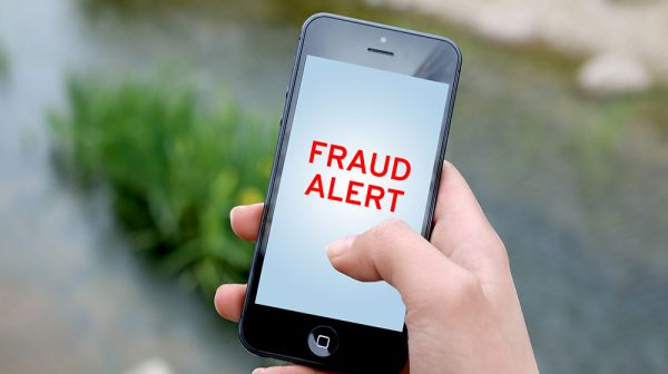 Fraud alert graphic for warning to beware of recent telephone spoofs