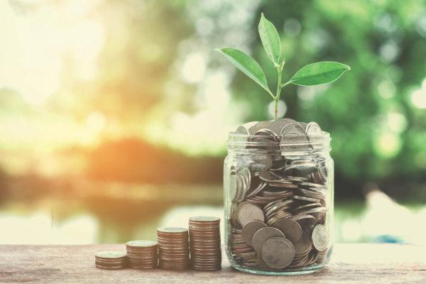 cash management saving money in a jar