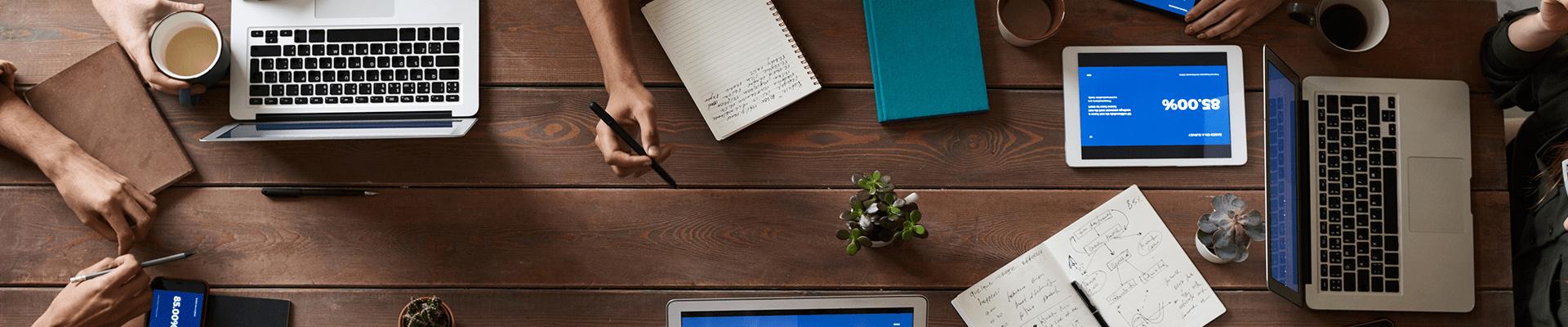 business meeting desktop area
